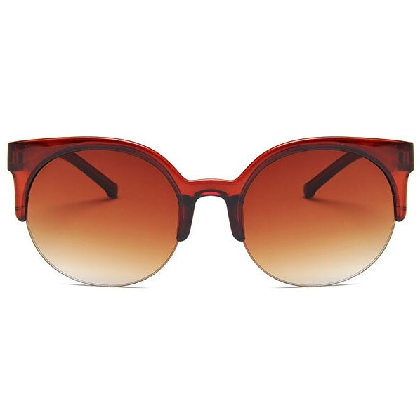 Retro half frame cat eye zonnebril - Bruin