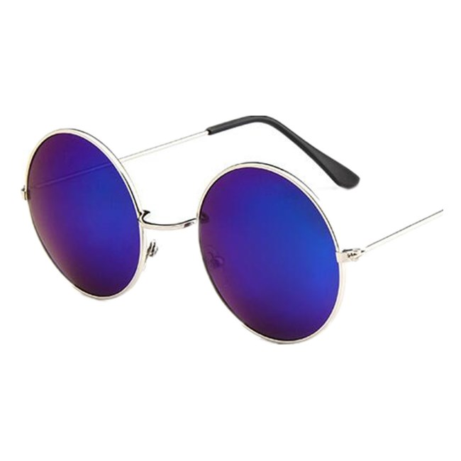 Ronde zonnebril spiegelglazen - Blauw