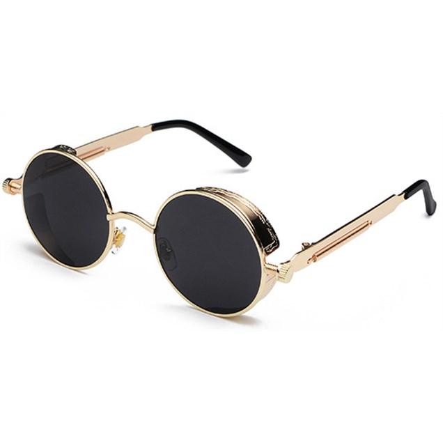 Ronde Steampunk zonnebril - Zwart/Goud