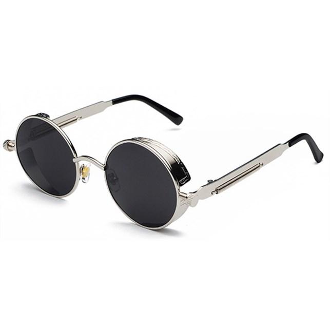 Ronde Steampunk zonnebril - Zwart/Zilver