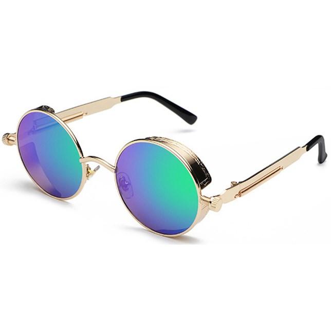 Ronde Steampunk zonnebril - Blauw/Groen