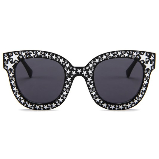 Bling cat-eye zonnebril - Zwart
