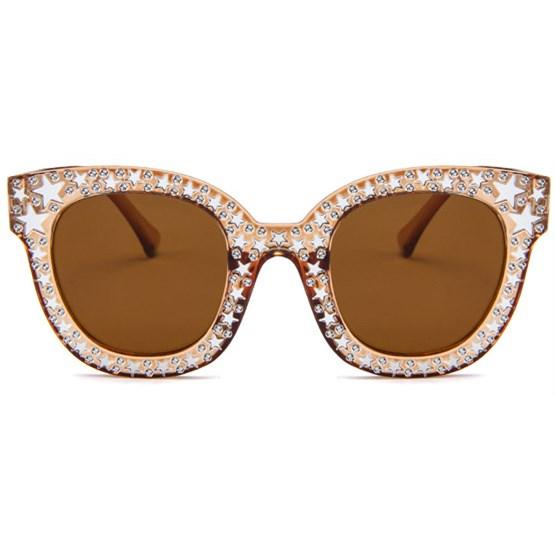 Bling cat-eye zonnebril - Bruin