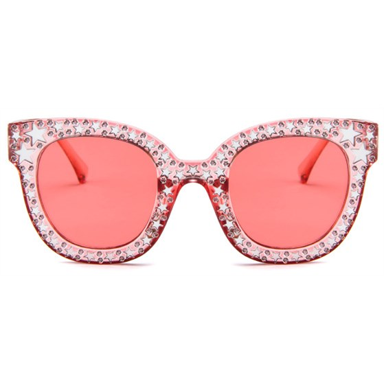 Bling cat-eye zonnebril - Roze