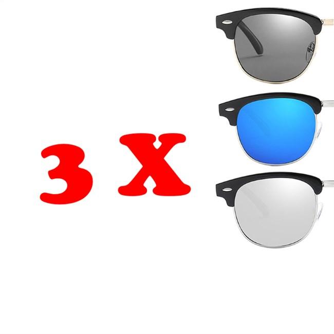 Clubmaster zonnebrillen - 3 stuks