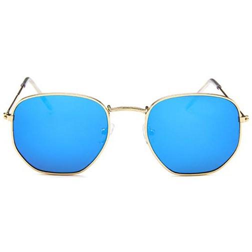 Hexagonal flat zonnebril - Blauw