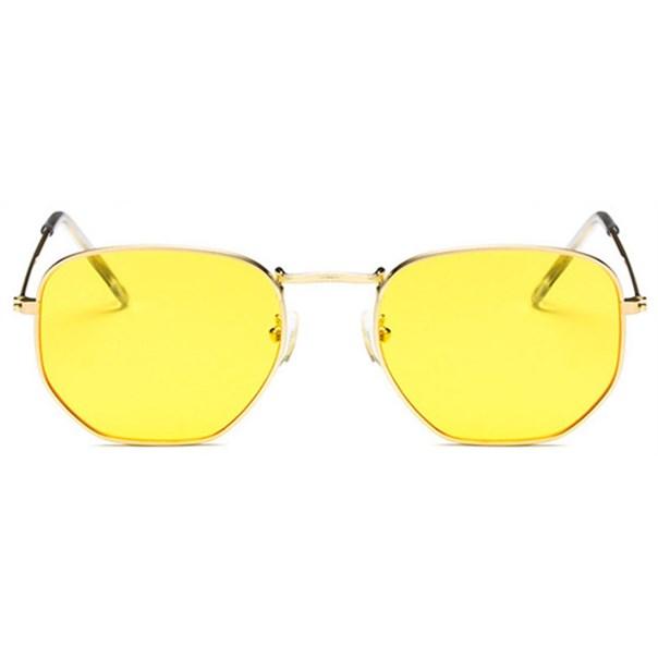 Hexagonal flat zonnebril - Geel