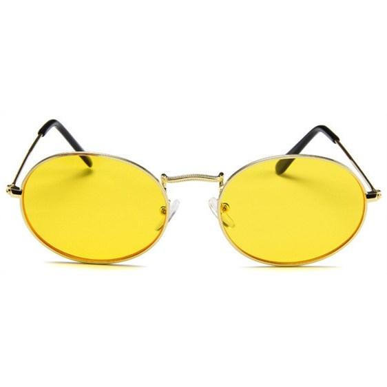 Oval flat lenses zonnebril - Geel