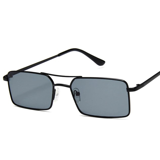 Rechthoekige retro zonnebril - Zwart