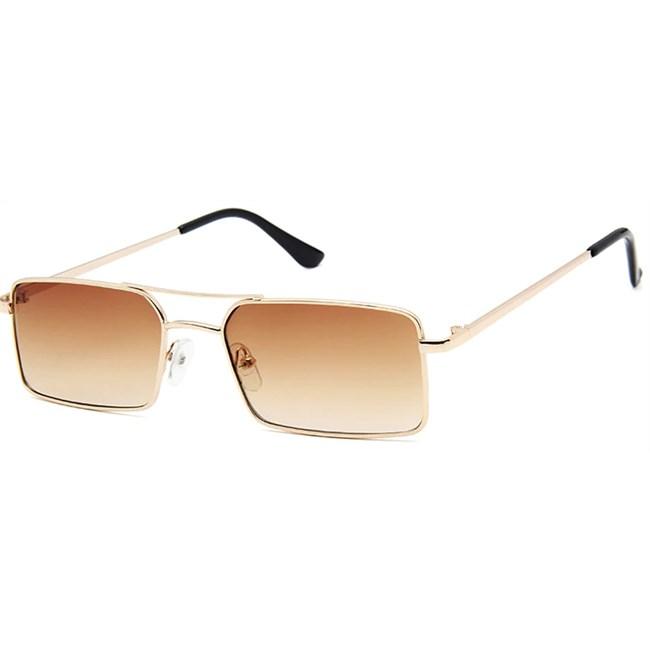 Rechthoekige retro zonnebril - Bruin