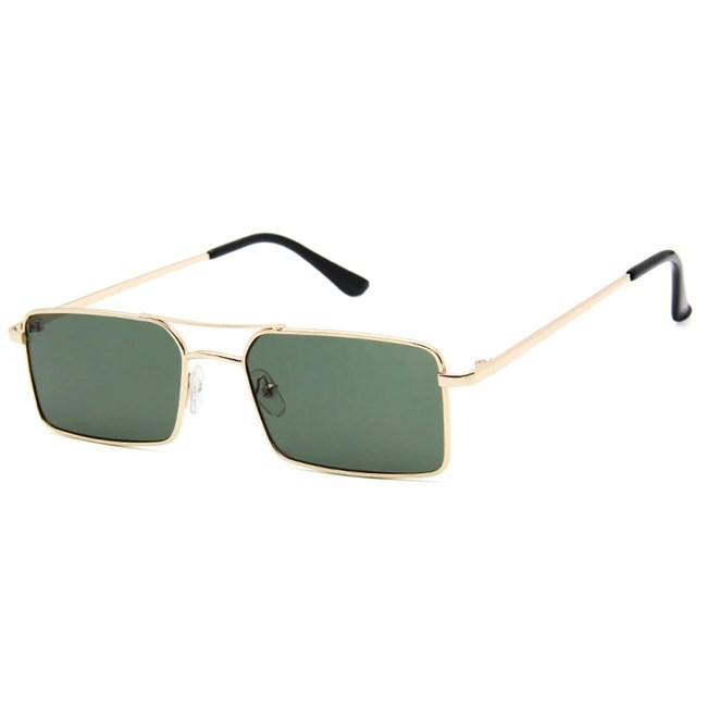 Rechthoekige retro zonnebril - Groen