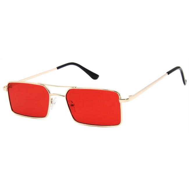 Rechthoekige retro zonnebril - Rood