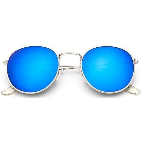 Round metal zonnebril - Blauw