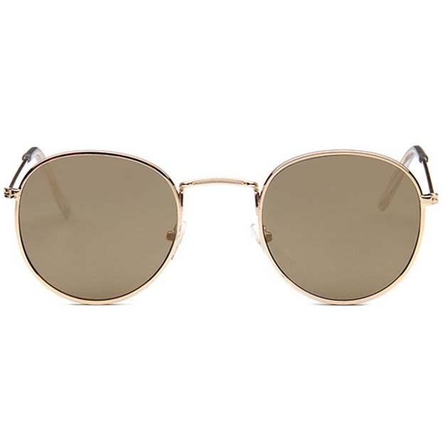 Round metal zonnebril - Bruin