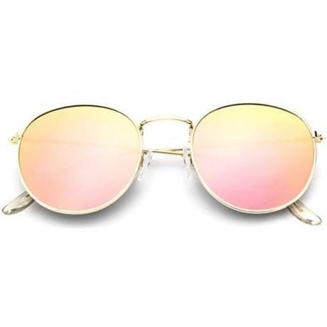 Round metal zonnebril - Roze