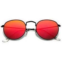 Round metal zonnebril - Rood/Zwart