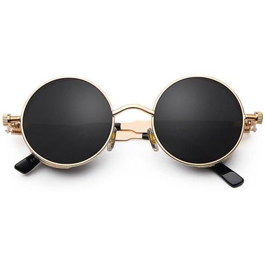 Ronde Steampunk zonnebril - Zwart Goud - Alle zonnebrillen - Ronde ... 953eec14864e