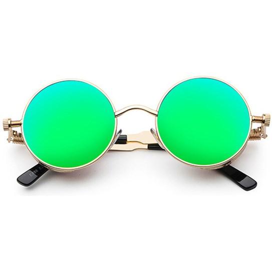 Ronde Steampunk zonnebril - Groen