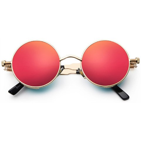 Ronde Steampunk zonnebril - Rood