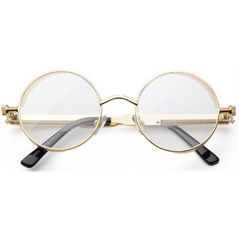 Ronde Steampunk zonnebril - Transparant/Goud