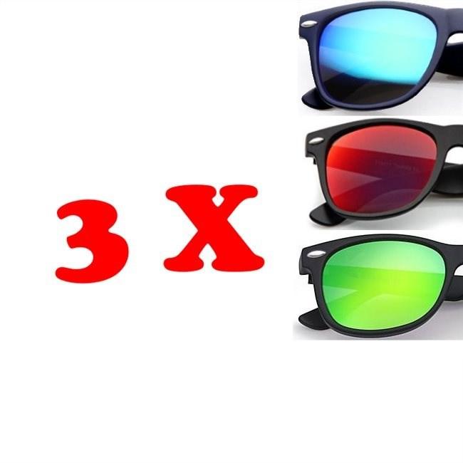 Wayfarer zonnebrillen - 3 stuks Gepolariseerd