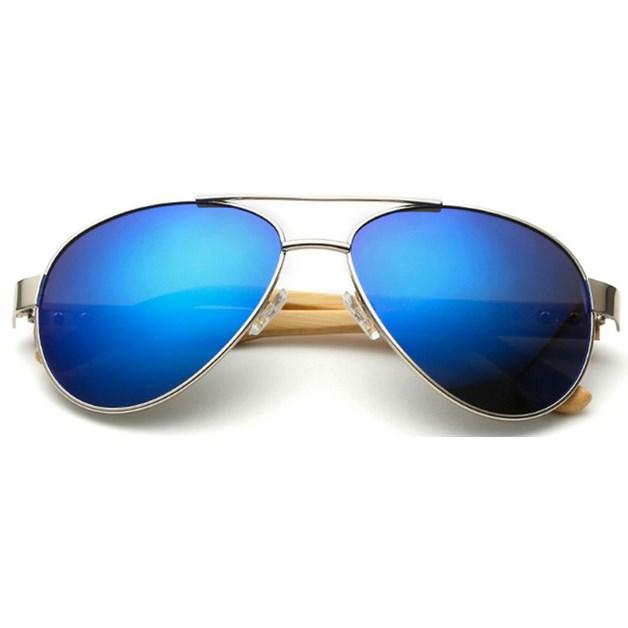 "Pilotenbril ""Woody"" - Blauw"