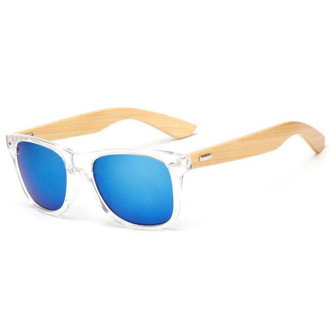 "Transparante Wayfarer zonnebril ""Woody"" - Blauw"