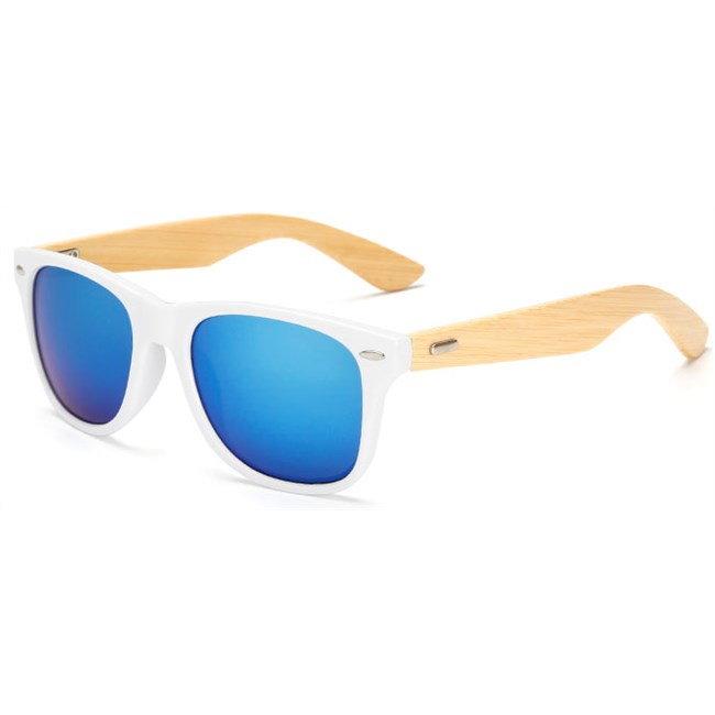 "Witte Wayfarer zonnebril ""Woody"" - Blauw"